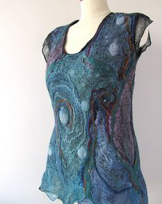 Nuno felted tunic Galaxy by GalaFilc, via Flickr - think this is black chiffon with green wool on the inside and smaller pieces of embellishment on outside