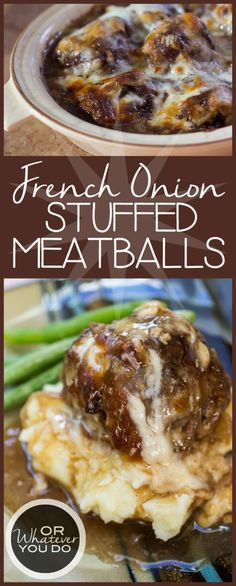 Cheesy stuffed meatballs baked and loaded with caramelized onions. French Onion Stuffed Meatballs are the ultimate fall and winter comfort food! Beef Dishes, Food Dishes, Main Dishes, I Love Food, Good Food, Yummy Food, Meat Recipes, Cooking Recipes, Recipies