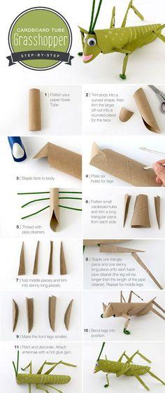 DIY Cardboard Tube Grasshopper