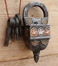 Antique Reproduction Unique Handmade Tricky/Puzzle 4 Keys Operated Iron Padlock