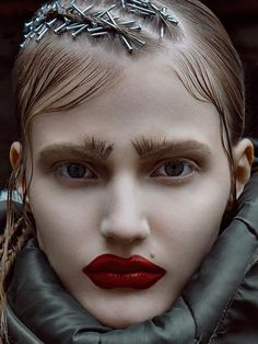 The future belongs to outsiders on Behance . Note the nails in her hair Editorial Hair, Beauty Editorial, Beauty Makeup, Hair Makeup, Hair Beauty, Makeup Lipstick, Makeup Art, Beauty Care, Avant Garde Hair
