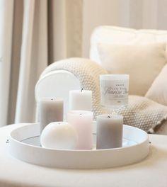 Seinäpeilistä kaunis tarjotin White Decor, Candle Holders, Pastel, Passion, Candles, Decoration, Houses, Decor, Cake