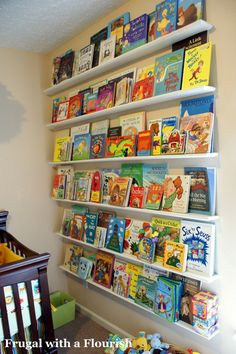 A book wall is a great idea- provides storage for our ever growing book collection and it's interesting to look at it - we love how this turned out in N's room, we did it on a smaller wall