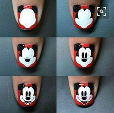 Steps to draw Mickey nails. Ongles Mickey Mouse, Mickey Mouse Nail Design, Mickey Nails, Minnie Mouse Nails, Nail Art Designs, Pretty Nail Designs, Nails Design, Nail Art Disney, Nagel Hacks