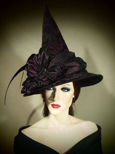 Couture Witch Hat Plum Gorgeous 21 One of a by EvercrumblyAndWitch