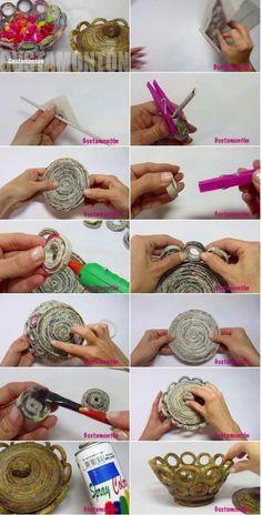Super Ideas For Diy Paper Crafts Newspaper Basket Weaving – Diy Recycled Magazine Crafts, Recycled Paper Crafts, Recycled Magazines, Newspaper Basket, Newspaper Crafts, Newspaper Paper, Diy Crafts For Kids, Arts And Crafts, Kids Diy