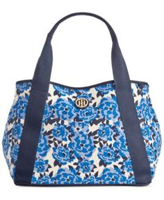 Tommy Hilfiger TH Painted Floral Canvas Tote | macys.com