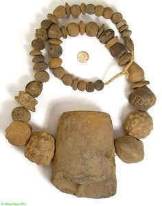 Africa    Sao culture ancient clay bead neckace   Made in Chad/Sudan   Age unknown but possibly ancient; the Sao culture of the Chad is now extinct, but these beads have been passed down through the generations to the present day.