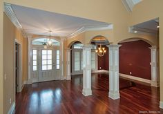 Front entry and dining room from The Evangeline, plan 1137. http://www.dongardner.com/plan_details.aspx?pid=3096. #FrontEntry #DiningRoom #Craftsman