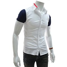 (EVSS21-NAVY) Slim Fit 2 Tone Patched Stretchy Short Sleeve Shirts