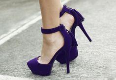 Qupid Tatum Purple Velvet Tassel Pointed Platform Heels
