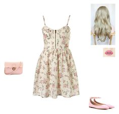 """""""Floral Dress"""" by parislight ❤ liked on Polyvore featuring Gianvito Rossi, women's clothing, women's fashion, women, female, woman, misses and juniors"""