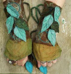 Felt Faery Cuffs - nuno felt cuffs-  pixie gloves - forest gloves -  fairy costume