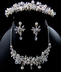 Freshwater Pearl Jewelry & Matching Comb NE 8005 & HP 8001