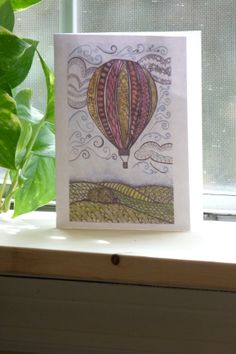 Watercolor Hot Air Balloon Cards Size A2set by CreativeAttempts, $7.00