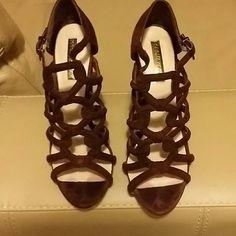 Selling this BCBG MaxAzria suede Wide High Heel sandal pumps on Poshmark! My username is: marionscloset. #shopmycloset #poshmark #fashion #shopping #style #forsale #BCBGMaxAzria #Shoes