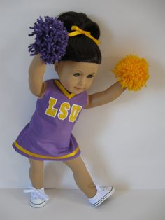 Custom cheer outfit $33 shipped, choose the colors, the letters, etc-- comes with pom poms and hairbow!