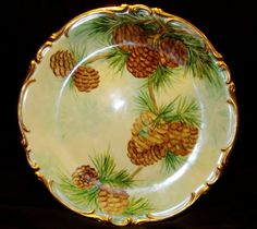 Pine Cone Motif   ... Painted with Pine Cone Motif ~ Artist Signed ~ Heinrich & Co 1930
