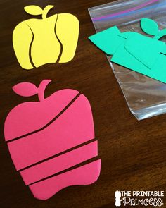 The Printable Princess: Back to School Games for Kindergarten Cutting pre cut foam shapes to create quick puzzles