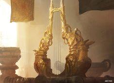 Siren Song Lyre MtG Art from Born of the Gods Set by James Paick Apollo Aesthetic, Gold Aesthetic, Roman Mythology, Greek Mythology, Albedo, Artemis, Greek Pantheon, Mtg Art, Greek Gods And Goddesses