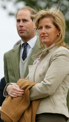 The Earl and Countess of Wessex watch the Duke of Edinburgh compete in the Driving Grand Prix Marathon event during the Royal Windsor Horse Show at Windsor, 2005. ~ Photo by Getty Images via Hello Magazine.