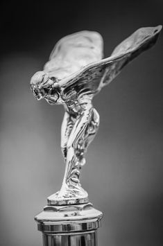 1928 Rolls-royce Phantom 1 Hood Ornament Black And White by Jill Reger