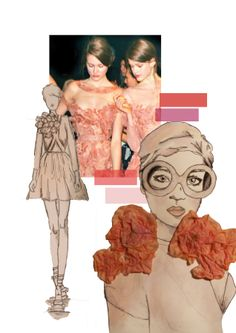 Fashion Portfolio - fashion design board with mixed media fashion illustration; fashion sketchbook // Sarah Davies