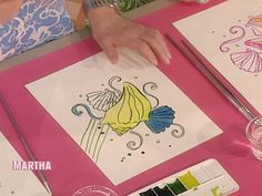 Janie Schoenborn, Lilly Pulitzer's design director, teaches Martha how to create a Lilly-like design.