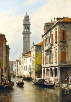 Jacques François Carabain (1834-1933) Une Vue à Venise San Giorgio dei Greci. 1900