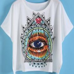 Seeing Eye lose tshirt Seeing eye T shirt that is technically NWT but this brand doesn't come with tags on the clothing. Size large. Fits like a medium or small large. Loose fit tee, slight crop but still long enough for normal wear. ROMWE Tops Tees - Short Sleeve