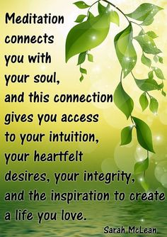 #Meditation connects you with your soul and this connection gives you access to your intuition, your heartfelt desires, your integrity and the inspiration to create a life you love. #quote