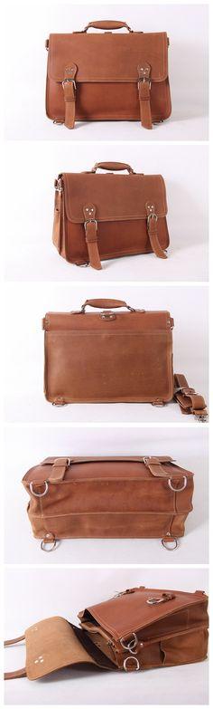 """ROCKCOW Handmade Vintage Leather Briefcase/Backpack, Men Messenger Bag, Laptop Bag 7161R Model Number: 7161R Dimensions: 16.1""""L x 6.2""""W x 11""""H / 41cm(L) x 16cm(W) x 28cm(H) Weight: 4.4lb / 2kg Hardwar"""