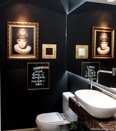 Over 20 dark, moody bathroom designs that impress.- Über 20 dunkle, stimmungsvolle Badezimmerdesigns, die beeindrucken – HomeCantuk Over 20 dark, atmospheric bathroom designs that impress – HomeCantuk – - Dark Bathrooms, Beautiful Bathrooms, Bathroom Wall, Small Bathroom, Bathroom Plants, Paris Bathroom, Bathroom Artwork, Navy Bathroom, Downstairs Toilet