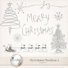Cliparts  Christmas Doodles 1. Perfect for door VeraLimDesign