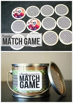 Here's a fun game for the kids to play while the Thanksgiving feast is being prepared. (or any other time of course) what you'll need: • patterned paper + cardstock • 3″ circle wood discs • photos sized to 3″ squares • 2.5″ circle punch • adhesive • clear plastic paint can (4″ across x … #matchgame #diymatchgame