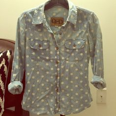 Polka dot chambray button down too Very cute polka dot top. Good used condition. Quiksilver Tops Button Down Shirts