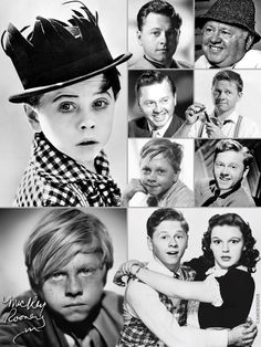 Mickey Rooney (1920-2014). American film actor & entertainer whose film, TV, & stage appearances span nearly his entire lifetime. He has received multiple awards, including a Juvenile Academy Award, an Honorary Academy Award, two Golden Globes & an Emmy. Working since he was a child, he was a superstar as a teenager, and he has had one of the longest careers of any actor, to date spanning 91 years actively making films in ten decades, from 1920s to 2010s.