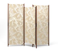 """""""Partition"""" folding screen Hermes """"partition"""" angled and foldable screen that can be used to section off spaces and enhance the vertical appeal of Hermes fabrics. Reverse covered with ebony H Decoration canvas fabric. Opened: L76.8"""" x H76"""" x P1.2"""" - Closed: L39.4"""" x H76.4"""" x W5.5"""""""