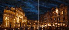 Bassano del Grappa, Tommaso Ottieri, 2011, olio su tela, 80x 180 #ckcontemporary #art #painting #cityscape #contemporaryart