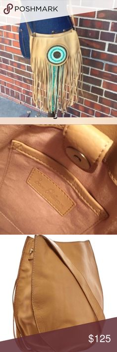"""Sam Edelman saddle bag beaded crossbody bag SE nude color crossbody saddle bag with magnetic closure approx 10.5x10x3 drop strap approx 21"""" Excellent condition no trades open to offers thru offer feature nude/turquoise Sold out in stores Sam Edelman Bags"""