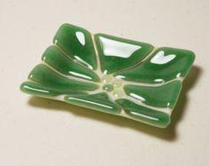 Soap Dish Fused Glass Bathroom Decor Cream with por ModMixArt