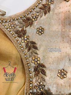 Hand Work Blouse Design, Fancy Blouse Designs, Bridal Blouse Designs, Creative Embroidery, Embroidery Designs, Hand Designs, Simple Designs, Wall Tv, Maggam Works