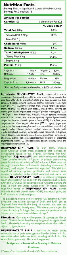Rejuvenate Plus nutritional facts label