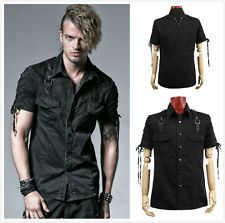 Punk Rave Y-530 Men's Gothic Steampunk Rock Industrial Military Black Top Shirt
