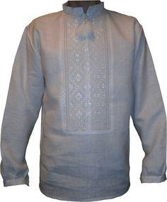 #вишиванка ручної роботи, чоловіча сорочка білим по білому (Арт. 00228), 540 ГРН.