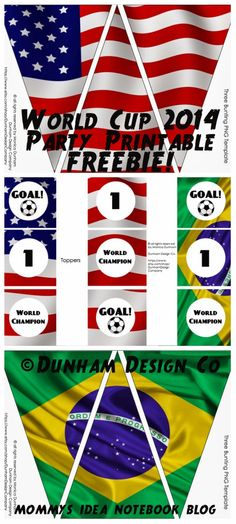 Mommy's Idea Notebook: FREEBIE: World Cup 2014 Party Printable {USA & Brazil}
