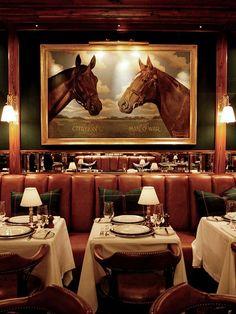 Saddle-leather banquettes and luxe Americana at The Polo Bar Vintage Restaurant, Restaurant New York, Restaurant Design, Fun Restaurants In Nyc, Mid Century Bar, Bar Interior, Interior Design, Ad Design, Ralph Lauren