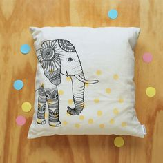 Elephant / PILLOW cover / White linen by Windstilte, Linen Pillows, Cushions, Throw Pillows, Elephant Pillow, Green Colors, Hand Sewing, Screen Printing, Pillow Covers, Delicate