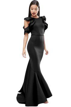 492678415e Black Celeb Style Scuba Ruffle Extreme Fishtail Maxi Dress - Frockin It  Formalne Sukienki
