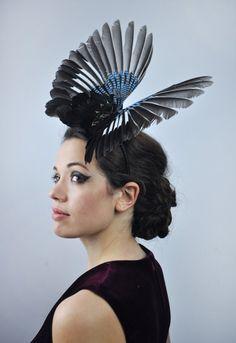Bird Wing Feather Fascinator in Open Jay Wings by FloraAndTheFox